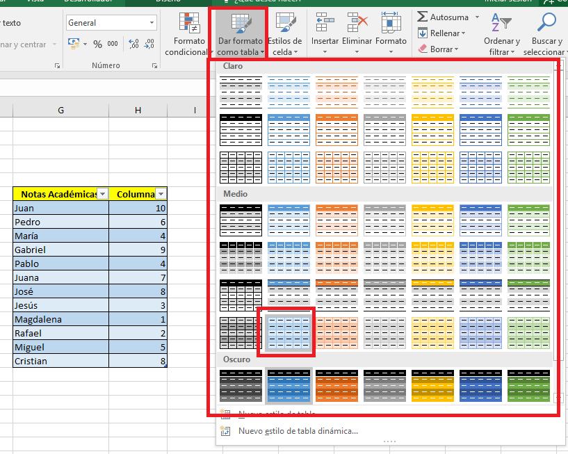 Excel_DarFormatoDetabla