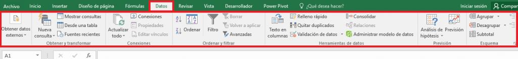 Excel: Pestaña Datos