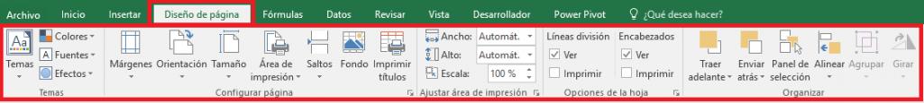 Excel: Pestaña Diseño de Página