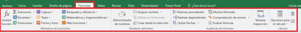 Excel: Pestaña Fórmulas
