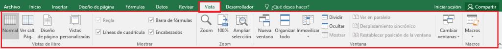 Excel: Pestaña Vista