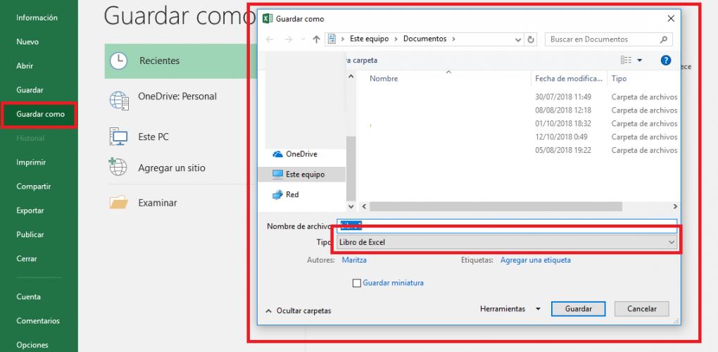Excel: ConvertirExcel97-2003aExcel2016