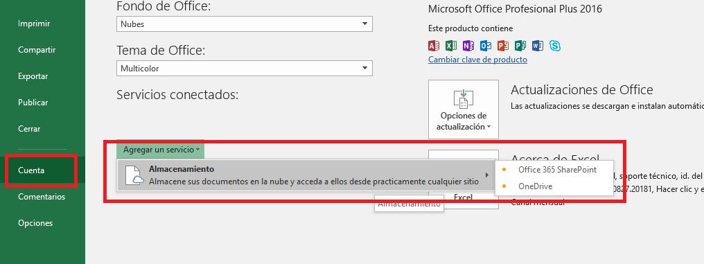 Excel: AgregarserviciosalacuentadeOffice